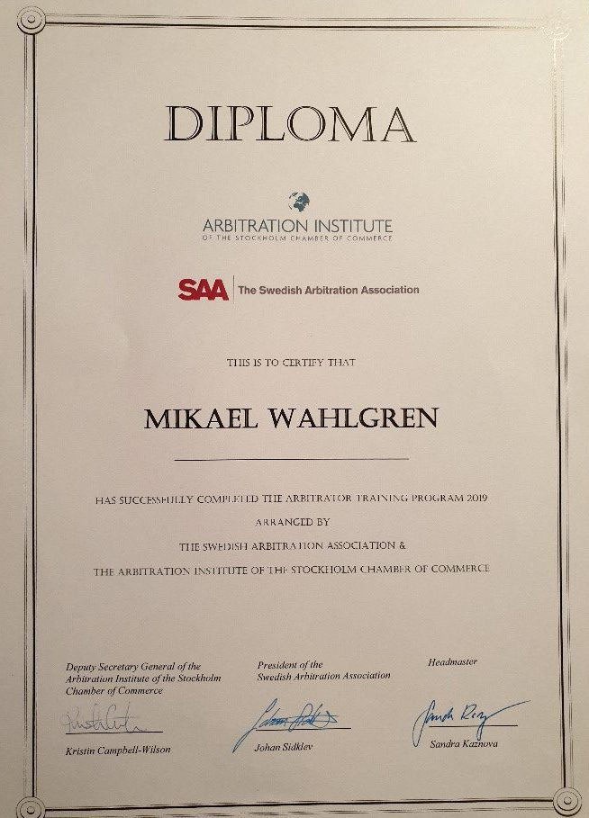 Mikael Wahlgren yesterday became a certified arbitrator by SAA and SCC